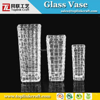 20cm tall Square wholesale clear glass bud vases