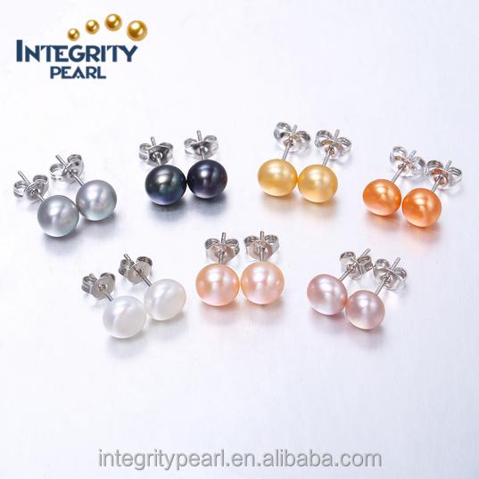 8d3edb7e94d 7-8mm 925 sterling silver fresh water freshwater pearl earrings real pearl  stud earrings in