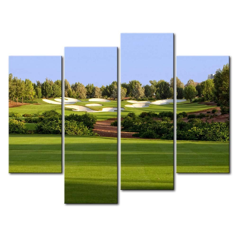 Green 4 Panel Wall Art Painting Jumeirah Golf Estates Trees Lawn Prints On Canvas The Picture Landscape Pictures Oil For Home Modern Decoration Print Decor For Items