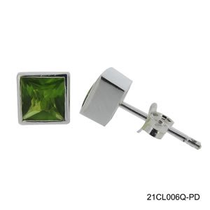 GM SQUARE 6MM CZ PERIDOT EARRING