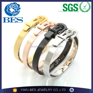 Titanium Bangle Wholesale Size Adjustable Gold Belt Buckle Men Bracelet Couple Bangle