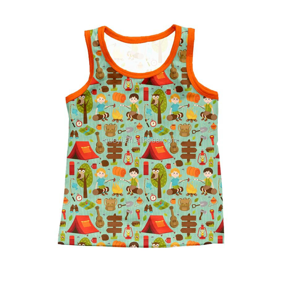 Latest t shirts for boy/girl camping pattern sleeveless remake wholesale new design shirt