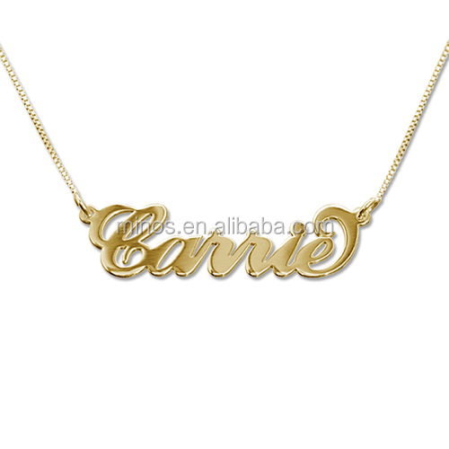 18k Gold Plated Angel Name Necklace Jewelry Custom Nameplate Necklace,18k Gold Plated Over Stainless Steel