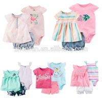 summer 100%cotton baby short sleeve romper and skirts with short pants