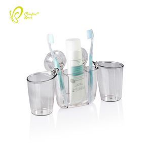 Popular Plastic Wall Mounted Bathroom Suction Cup Toothbrush Holder with 2 Tumbler Cups