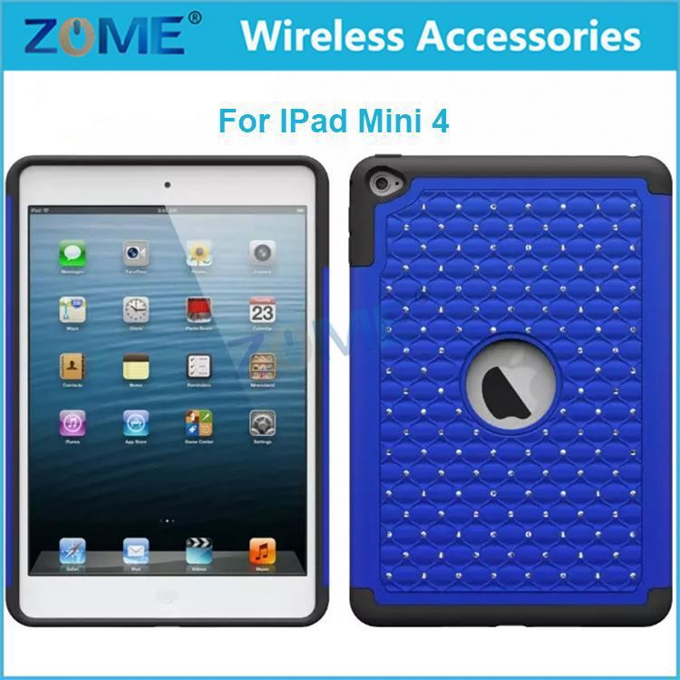 New Products Mobile Phone For Ipad Mini 4 Beautiful Hybrid Dual Layer Diamond Cell Phone Case