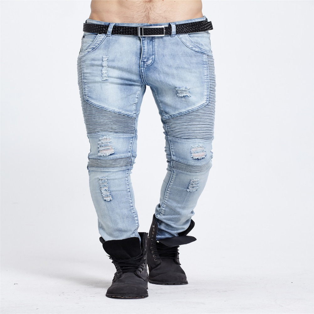 Legend street hole biker dimensional cut slim elastic men ripped euro denim jeans