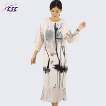 Plus Size Casual Digital Printed Long Sleeve Maxi Women Dress