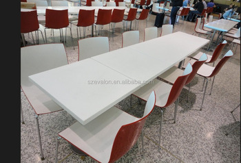 Incroyable 8 Seater Long Narrow Dining Table , Marble Table Top For Restaurant