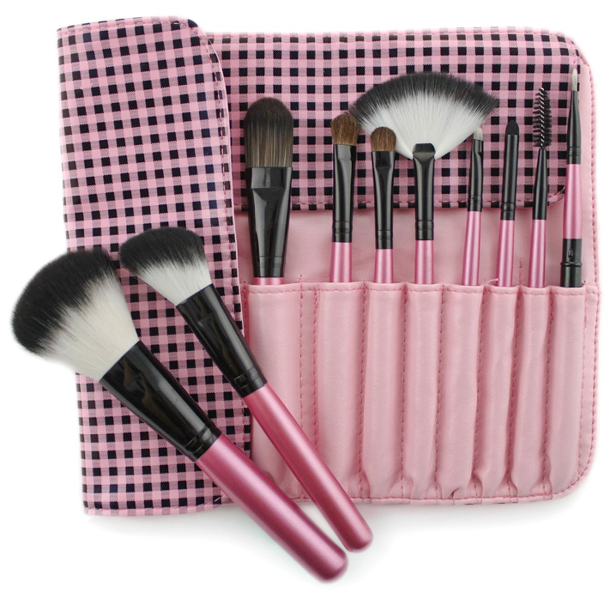 Frola Cosmetics Pro 10 Pcs Goat Hair Makeup Brush Brushes Set Kit with Black & Pink Plaid Case Bag