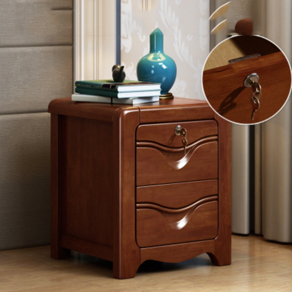 Solid wood simple bedside table [modern] [chinese style] Small cupboard Walnut color with lock bedside cabinet Cabinets Bedroom locker-I