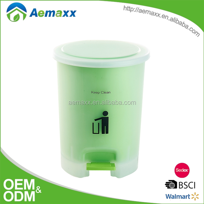 discount 5L 9L green pin blue color plastic pedal bin with foot operated