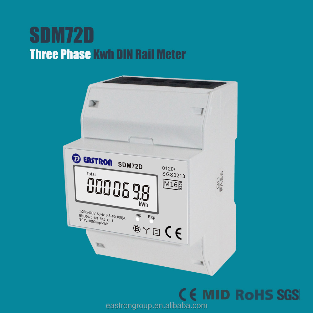 EASTRON SDM72D Good Price New 3 Phase DIN Rail Energy Meter, kWh Meter, Digital Electric kWh Meter, 10~100A, MID Approved