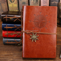 Vintage Pirate Diary Notebook Agenda With Faux Leather Cover Loose Leaf Note Book for School Stationery or Traveler