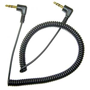 Samsung Galaxy J7 Compatible Black Coiled Aux Cable Car Stereo Wire Audio Speaker Cord 3.5mm Jack Adapter Auxiliary