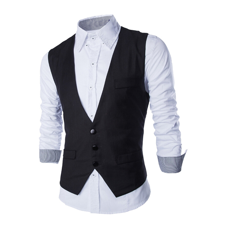 GenericMen Generic Men V-Neck Solid Color Single-Breasted PU Leather Vest