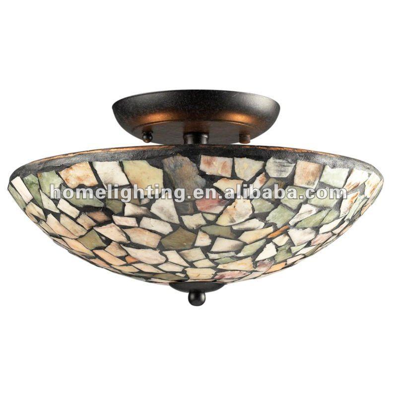 2 Light Tiffany Mosaic Glass Semi Flush Mount Ceiling Lamp ...