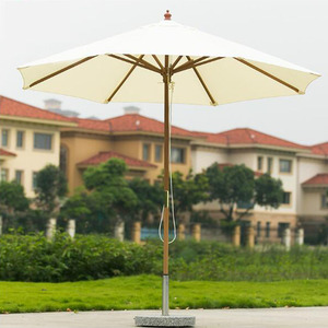 Pool teak wood pole umbrella for restaurant