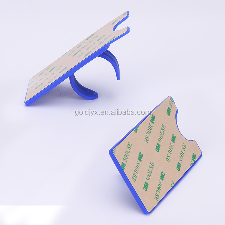 Custom made silicone mobile phone card holder with stand eco friendly 3m sticker phone