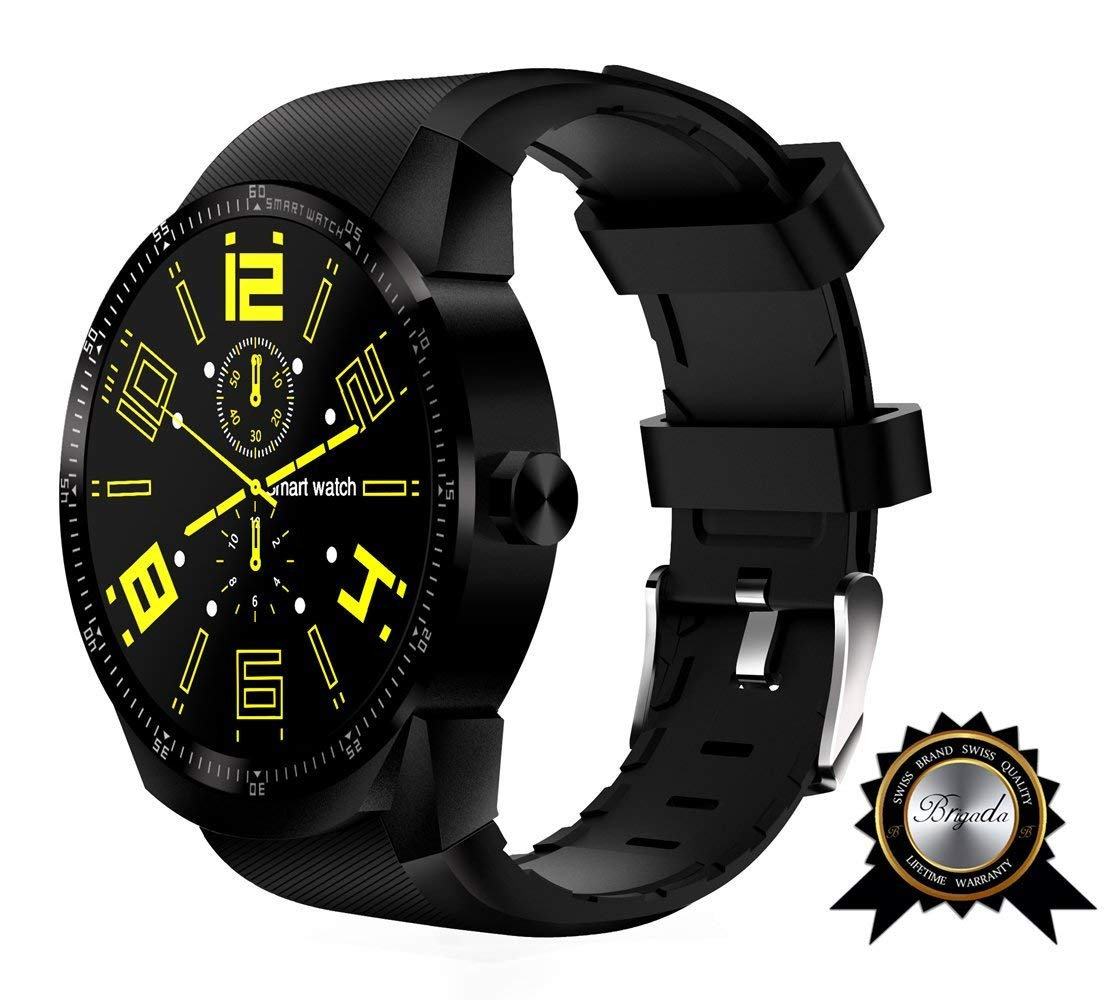 BRIGADA Smart Watches for Men, Cool Black Fashion Smart Watch for Android iphone, Best Innovative Smartwatch Combining Traditional Watch's Beauty with Modern Functions Like Exercise Track (android Sim