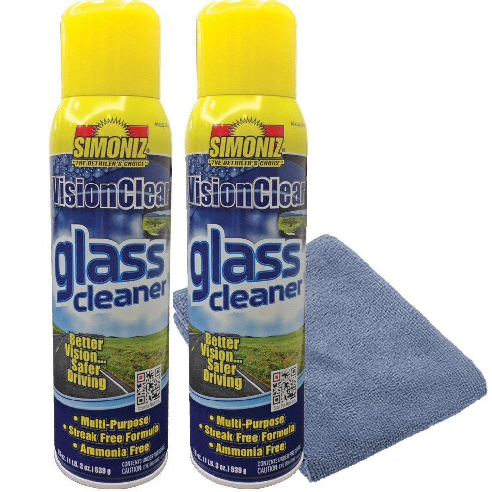 Simoniz Vision Clear Glass Cleaner Streak Free (2-pack) 19oz + LARGE Microfiber Polish Cloth COMBO