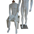 High glossy white headless male mannequins