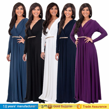 4ebdc325192 Fashion Women Solid Long Sleeve Deep V-neck Maxi Dress Elegant Engagement  Party Long Dress