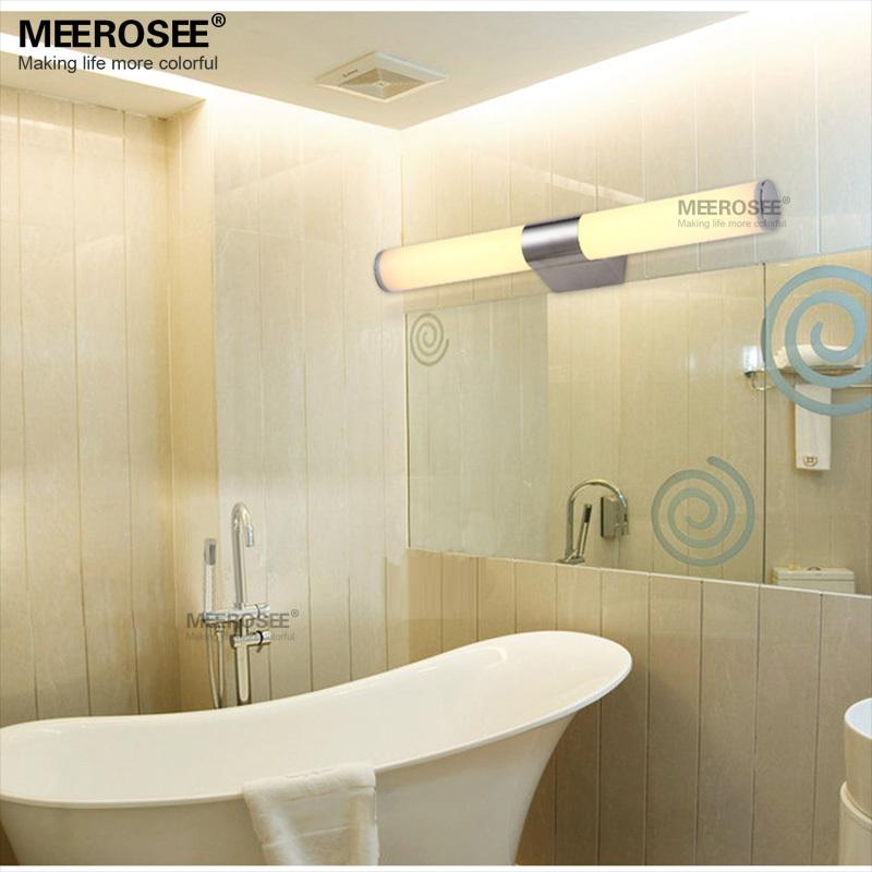 Nueva acr lico moderna ba o aseo wash maquillaje espejo de pared l mpara 12 w luz llevada de la - Lampara espejo bano ...