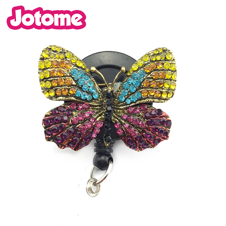 Gestickter Schmetterling Bling einziehbarer Name ID Badge Reel Holder / Arzt Nursing Teacher Badge Reel