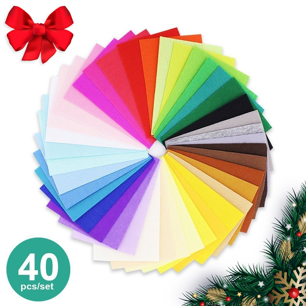 """40 pcs, 12x12"""" and 0.76mm thick Felt Squares Sheets Fabric in Assorted Color for DIY Craft Patchworks Sewing"""