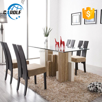 8 Seater Gl Top Stone Marble Travertine Base Dining Table