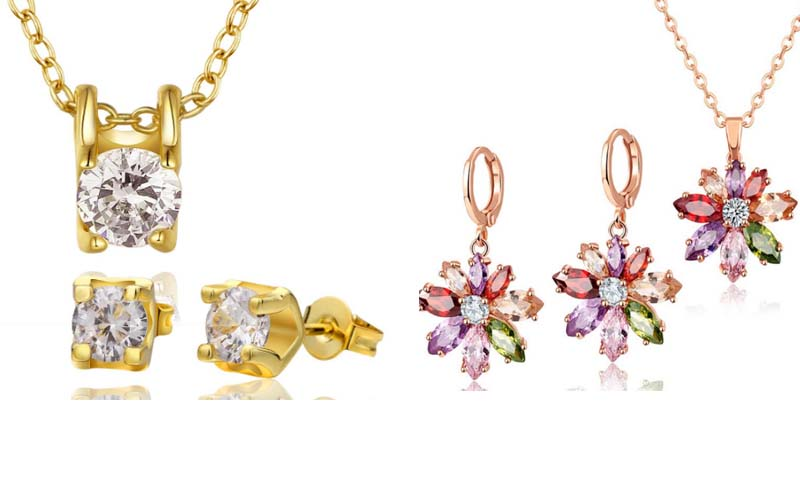 Dernier Noël zircone bijoux ensemble de Bijoux en cristal De Mariage pour Femme