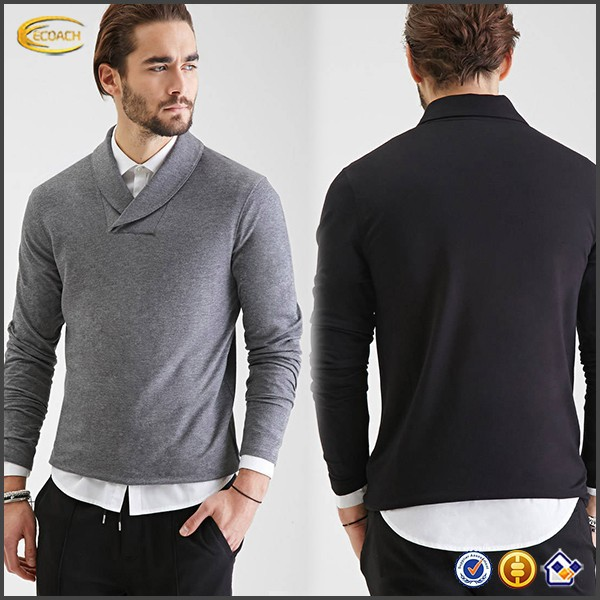 Ecoach OEM New style fashion long sleeve mens t-shirt China manufacturer mens custom collar tshirt design for men