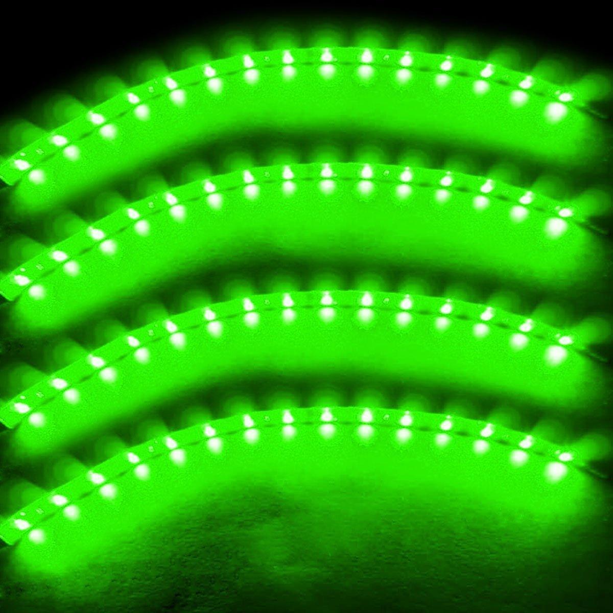Zento Deals 30cm Green LED Car Flexible Waterproof Light Strip Pack of 4