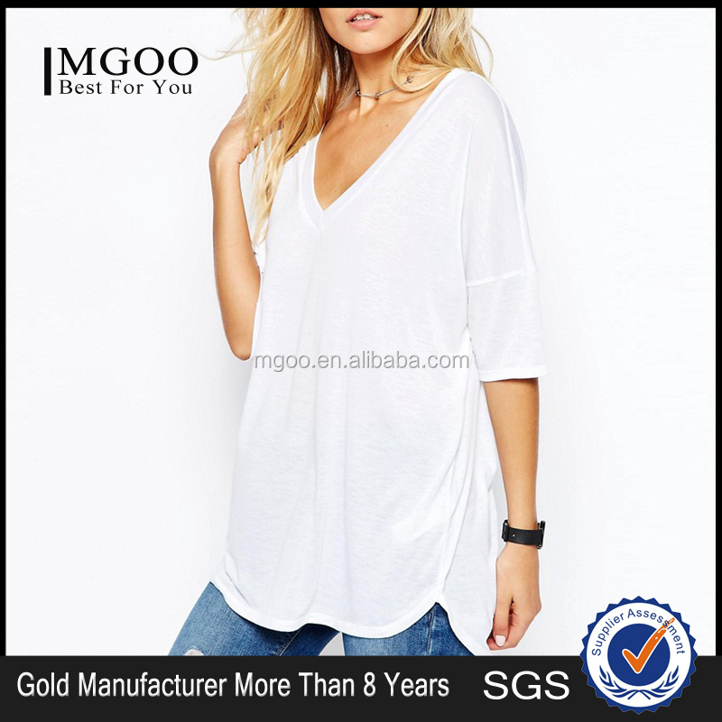 MGOO High Quality Basic V Neck Tee Dip Back Thin Fashion Loose Batwing Sleeves Oversizes T shirts