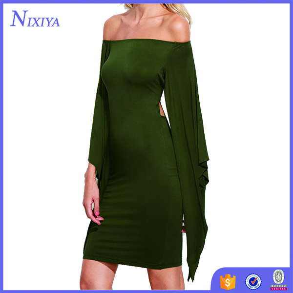 Olive Green Off The Shoulder Cutout Tie Back Cape Dress Sexy Long Sleeve Knee Length Dress
