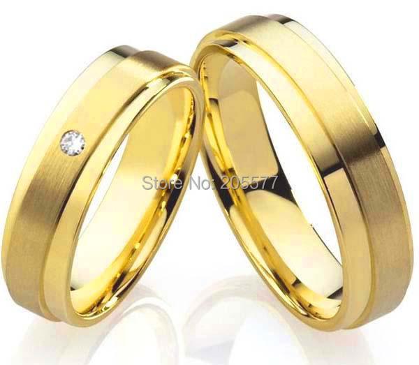 Buy beautiful big 18k gold plating health pure titanium wedding