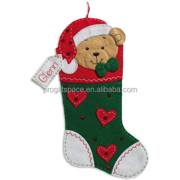 2017 new promotion eco friendly handmade wholesale China supplier funny decorations gifts custom made teddy Christmas bear sock