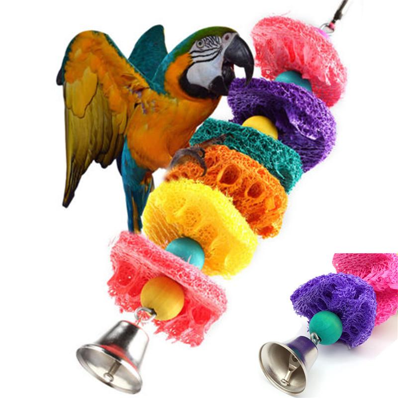 Горячая распродажа красочные мочалку губки домашних животных птица клетка с попугаем ара какаду Cockatiel Conure ручной игрушки завод волокна попугай жевать игрушки