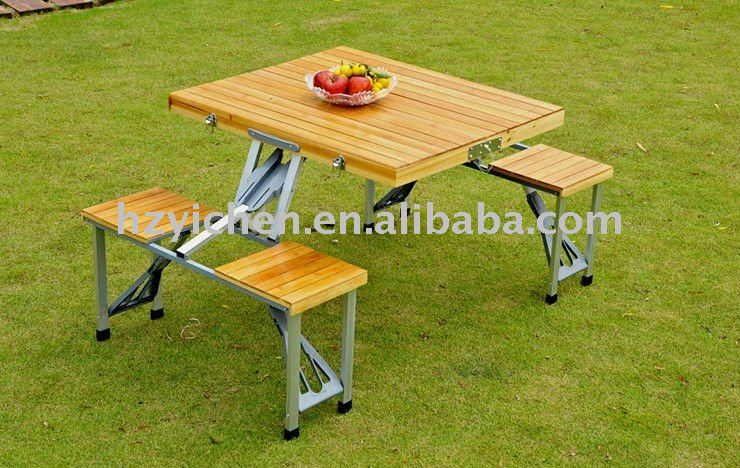 2012 Bamboo folding camping table with bench