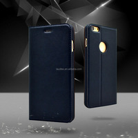 Fashion black cover magnetic flip phone PU leather case for iphone 6