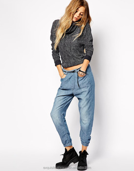 56762eac13 lightweight chambray textured denim jogger pants for women wholesale long  casual jean pants stretch waistband dark