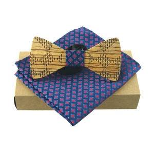 2017 Novelty Solid Good Bamboo Wood Bow Tie Set For Men Neckwear Creative Classic Wood Bow Ties