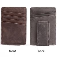 RFID blocking Leather mens wallet magnetic credit card holder money clip