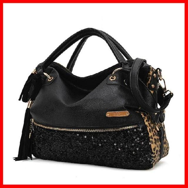 Venta caliente! Moda Leopard bolso brillante negro con lentejuelas bolso de la borla de las mujeres Negro totes leopardo Bolsos de mano Identificación