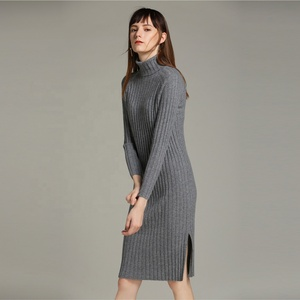 Pullover knitted ribbed side split turtleneck women long sweater dress