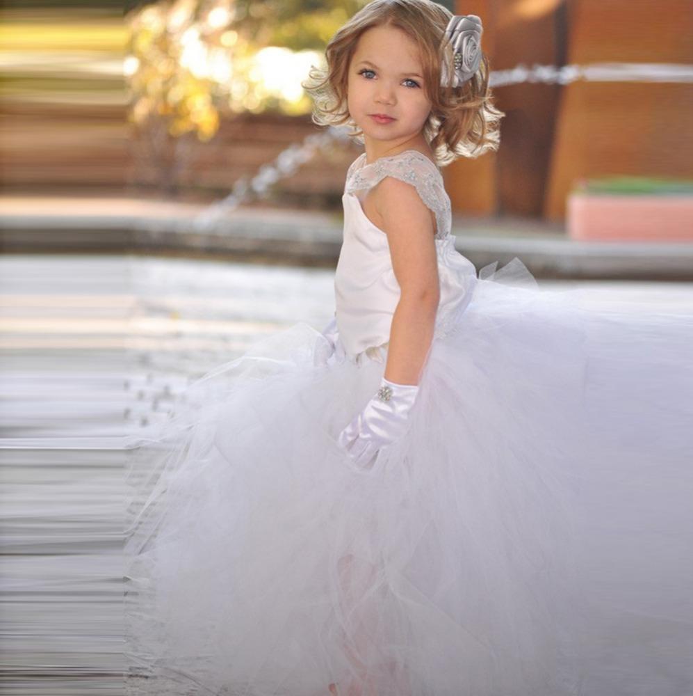 White Flower Girl Tutu Dress For Birthday Photo Wedding Party