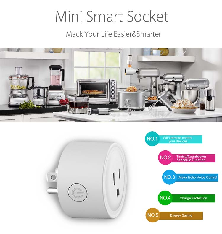 Wifi electric smart home automatic plug socket power switch outlet App Alexa Google energy monitor Tuya remote voice