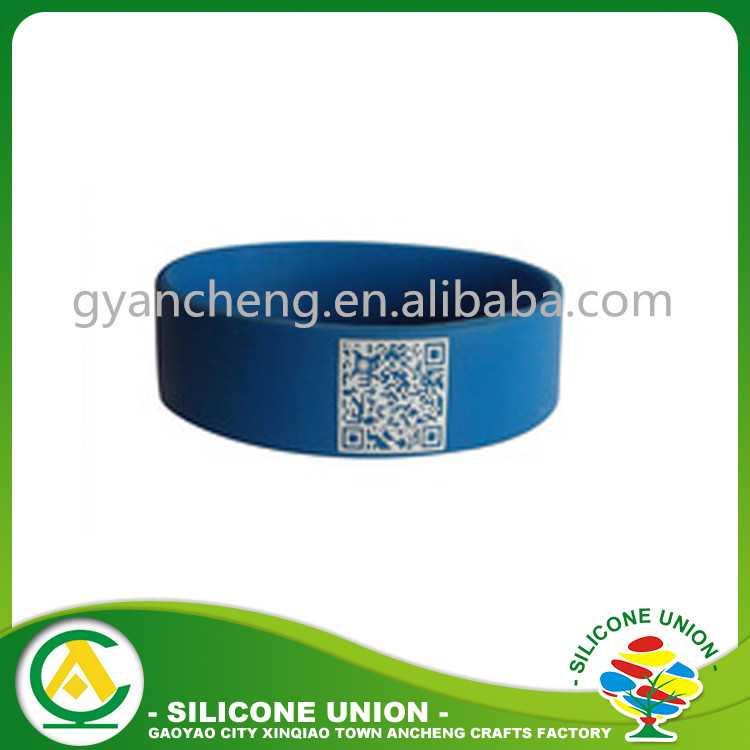 Printed 1 Color QR Code Wristbands, Bar Code Silicone Wristbands
