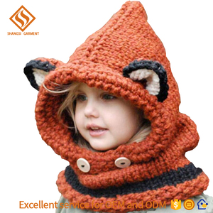 2018 winter baby fox hat muffler children boys and girls hands thick knit lovely thermal poncho scarf